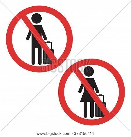Ban On Luggage Symbol. Man And Woman With Suitcase Crossed Ban Icon. Sticker For Airport Covid-19 Pr