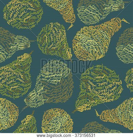 Vector Seamless Pattern With Pear Fruits Composed From Word