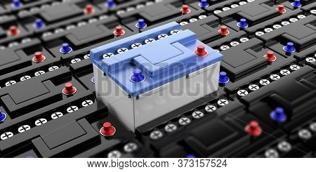 Car Batteries Background. Car And Motorcycle Spare Parts. 3D Illustration