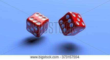 Dice Red Flying Over Blue Color Background, 3D Illustration
