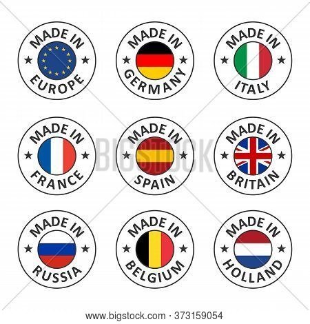 Vector Icon Set Made In Germany, France, Italy, Spain, Belgium, Russia, Holland, Britain And Made In