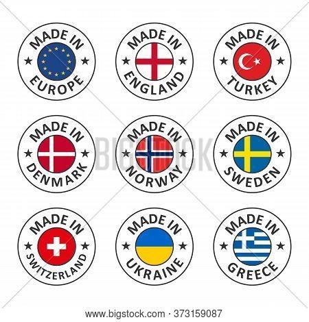 Vector Icon Set Made In England, Turkey, Denmark, Norway, Sweden, Switzerland, Ukraine, Greece And M