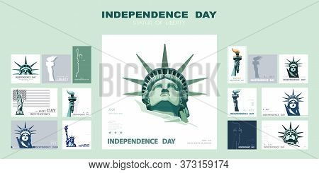 Independence Day Portrait Statue Of Liberty, Poster, Presentation. Set Of Green Flat Design Template