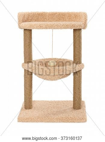 Cat Scratching Play Complex With Two Poles Isolated On White Background.