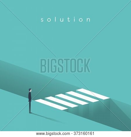 Business Challenge And Overcoming Vector Concept. Symbol Of Motivation, Ambition And Finding Solutio