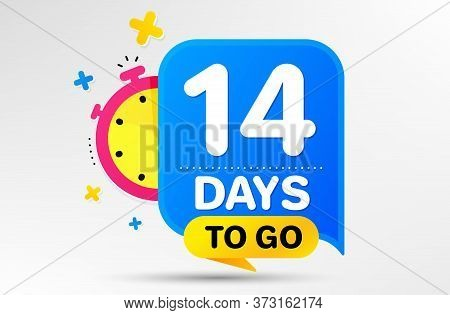 Countdown Left Days Banner With Timer. Fourteen Days Left Icon. 14 Days To Go Sign. Sale Announcemen