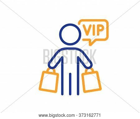 Vip Shopping Bags Line Icon. Very Important Person Sign. Member Club Privilege Symbol. Colorful Thin