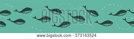 Swimming Whales Teal Vector Border Print. Horizontal Surface Design For Embellishing Cards, Posters,