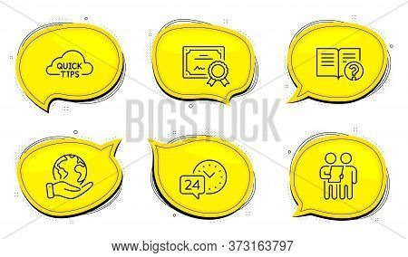 Survey Sign. Diploma Certificate, Save Planet Chat Bubbles. Help, 24h Service And Quick Tips Line Ic