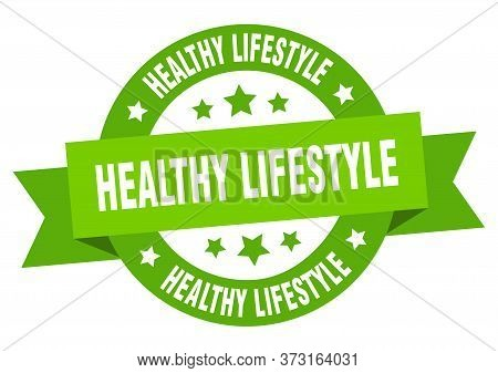 Healthy Lifestyle Ribbon. Healthy Lifestyle Round Green Sign. Healthy Lifestyle