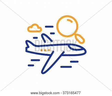 Search Flight Line Icon. Airplane With Magnifying Glass Sign. Find Airport Flights Symbol. Colorful