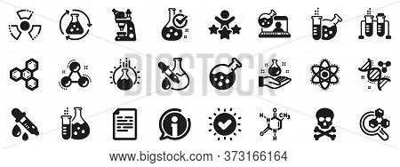Chemical Formula, Microscope And Medical Analysis. Chemistry Lab Icons. Laboratory Test Flask, React