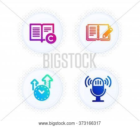 Feedback, Copyright And Time Management Icons Simple Set. Button With Halftone Dots. Microphone Sign