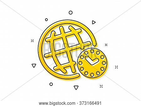 World Clock Sign. Time Zone Icon. Watch Symbol. Yellow Circles Pattern. Classic Time Zone Icon. Geom