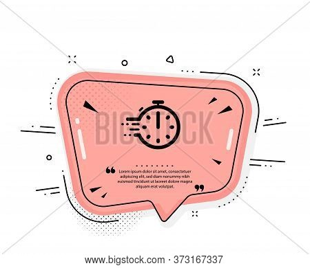 Cooking Timer Icon. Quote Speech Bubble. Frying Stopwatch Sign. Food Preparation Symbol. Quotation M