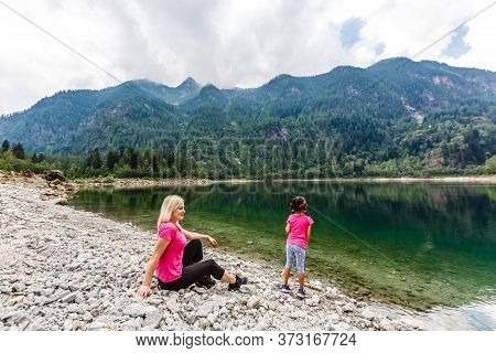 A Summer Day On Lake Antrona, In The Italian Alps, In Piedmont.
