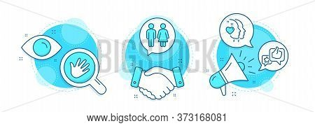 Hand, Like And Restroom Line Icons Set. Handshake Deal, Research And Promotion Complex Icons. Heart