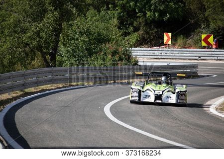 Skradin Croatia, June 2020 Norma M20 Race Car Formula Going Uphill At High Speed Through The Corner