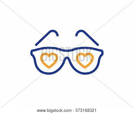 Glasses With Hearts Line Icon. Valentines Day Spectacles Sign. Love Accessory Symbol. Colorful Thin