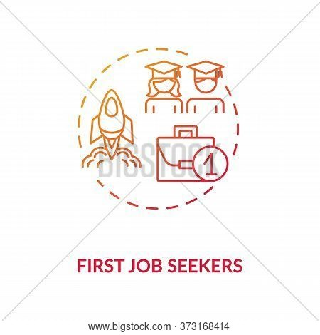 First Job Seekers Red Gradient Concept Icon. Unemployment Problem For Young Specialist. Graduate Sea