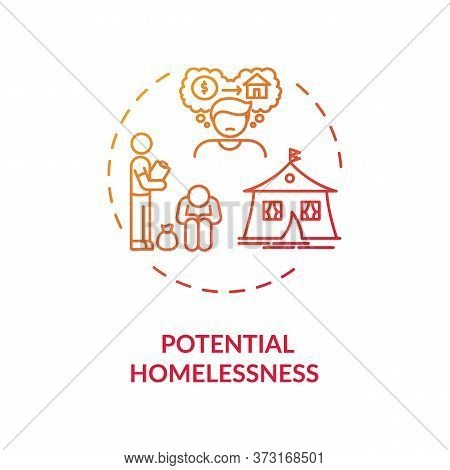 Potential Homelessness Red Gradient Concept Icon. Unemployment Problem. Crisis In Economy. Jobless P