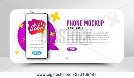 Final Sale Badge. Phone Screen Mockup Banner. Discount Banner Shape. Coupon Bubble Icon. Social Medi