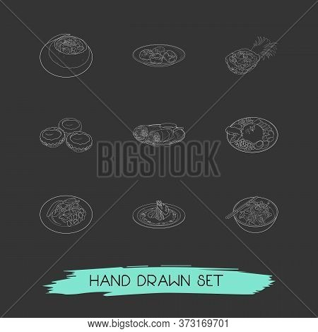 Set Of World Cuisine Icons Line Style Symbols With Noodle, Peru Ceviche, Czech Soup In Bread And Oth