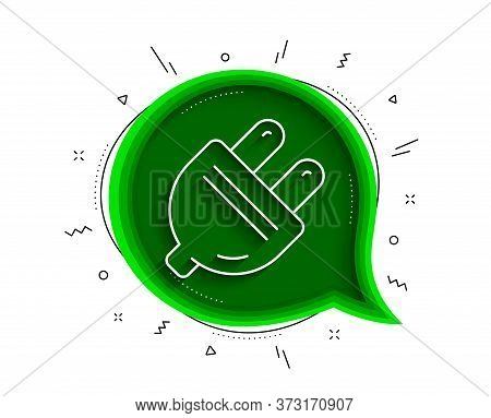 Electric Plug Line Icon. Chat Bubble With Shadow. Energy Sign. Electricity Power Symbol. Thin Line E