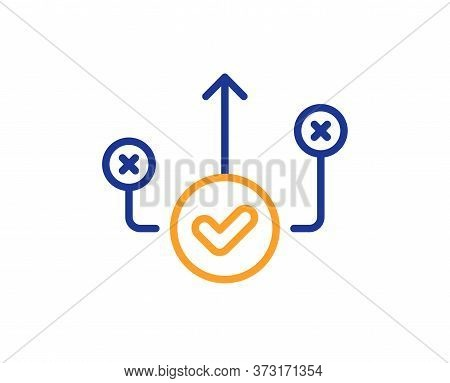 Correct Way Line Icon. Approved Path Sign. Right Decision Symbol. Colorful Thin Line Outline Concept