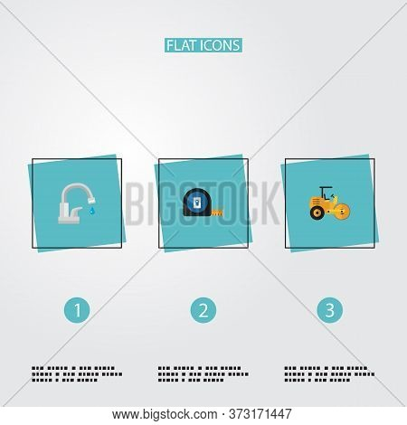 Set Of Industry Icons Flat Style Symbols With Tape Measure, Road Roller, Water Tap And Other Icons F