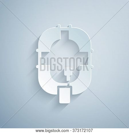 Paper Cut Inflatable Boat Icon Isolated On Grey Background. Rafting Boat. Water Sports, Extreme Spor