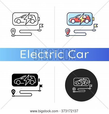 Battery Range Icon. Linear Black And Rgb Color Styles. Electric Vehicle Max Travel Distance. Electri