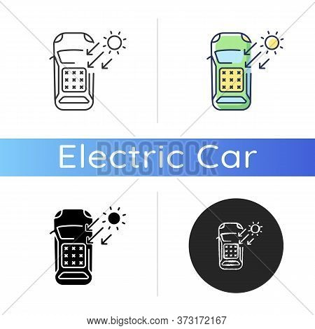 Solar Car Icon. Linear Black And Rgb Color Styles. Automobile On Renewable Sun Energy. Auto Charging
