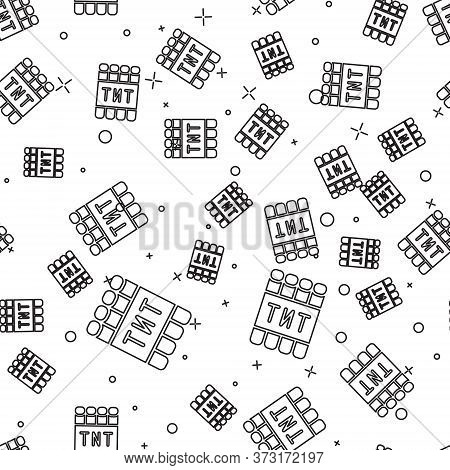 Black Line Detonate Dynamite Bomb Stick And Timer Clock Icon Isolated Seamless Pattern On White Back