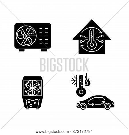 Climate Control Black Glyph Icons Set On White Space. Split Air Conditioner, Evaporative Cooler, Cen