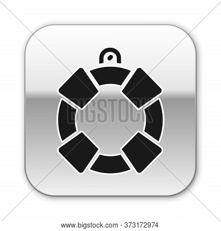 Black Lifebuoy Icon Isolated On White Background. Lifebelt Symbol. Silver Square Button. Vector