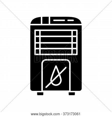 Dehumidifier Black Glyph Icon. Domestic Interior Environment Heating Equipment Silhouette Symbol On