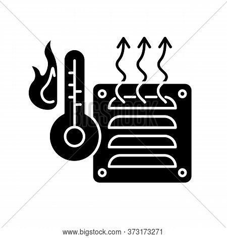Electric Heater Black Glyph Icon. Air Heating Device, Domestic Amenity Silhouette Symbol On White Sp