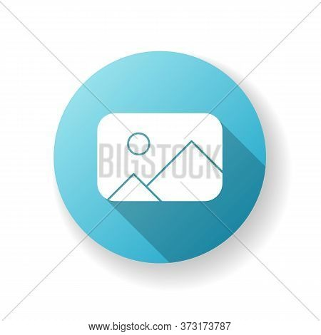 Placeholder Blue Flat Design Long Shadow Glyph Icon. Image Gallery. Photo Thumbnail. Available Album