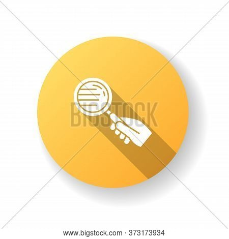 Magnify Glass Yellow Flat Design Long Shadow Glyph Icon. Hand With Lens. Close Inspection. Freelance