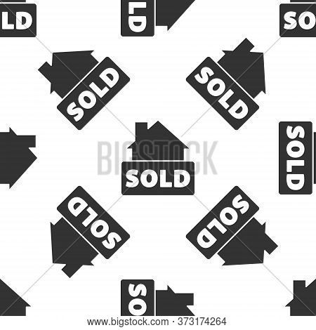 Grey Hanging Sign With Text Sold Icon Isolated Seamless Pattern On White Background. Sold Sticker. S