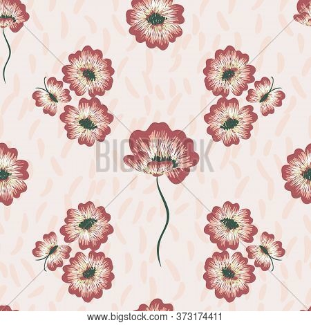 Embroidered Flowers And Butterflies Seamless Vector Pattern. Decorative Surface Print Design For Fab