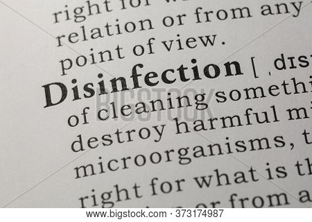Fake Dictionary, Dictionary Definition Of Word Disinfection.