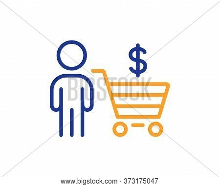 Buyer With Shopping Cart Line Icon. Customer Sign. Supermarket Client Symbol. Colorful Thin Line Out