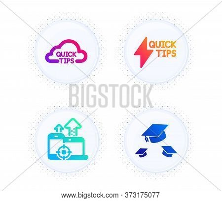 Seo Devices, Quickstart Guide And Quick Tips Icons Simple Set. Button With Halftone Dots. Throw Hats