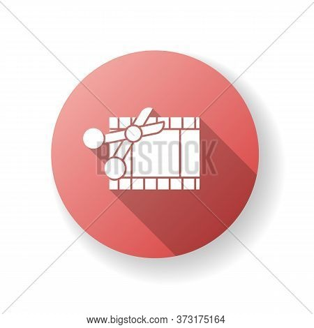 Film Edit Red Flat Design Long Shadow Glyph Icon. Movie Montage. Cut Film Strip With Scissors. Camer