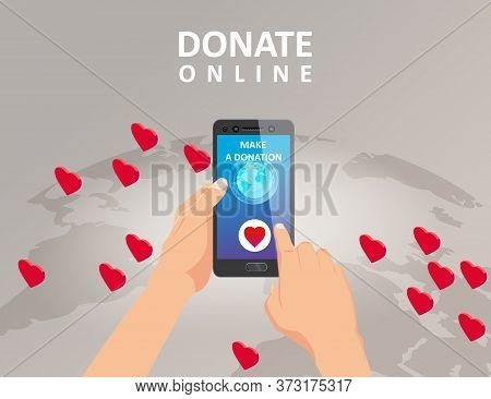Donating Money By Online Payments Consept. Gold Coin And Eath Palnet Background Hearts, Button Donat