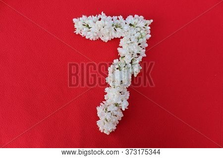 The Number 7 Is Written In White Lilac Flowers On A Red Background. The Number Seven Is Written In F