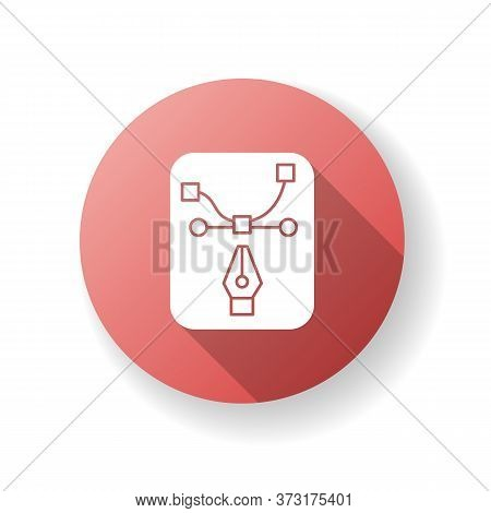 Pen Tool Red Flat Design Long Shadow Glyph Icon. Edit Curve. Freelance Illustrator Work In Software.