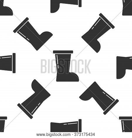 Grey Waterproof Rubber Boot Icon Isolated Seamless Pattern On White Background. Gumboots For Rainy W